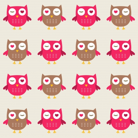 Owls in love seamless pattern