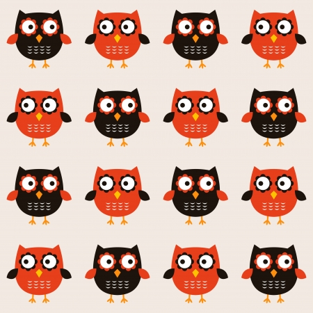Retro owls seamless pattern