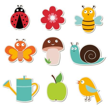 apple snail: Summer garden stickers set