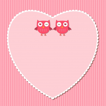Pink heart and owls frame Vector