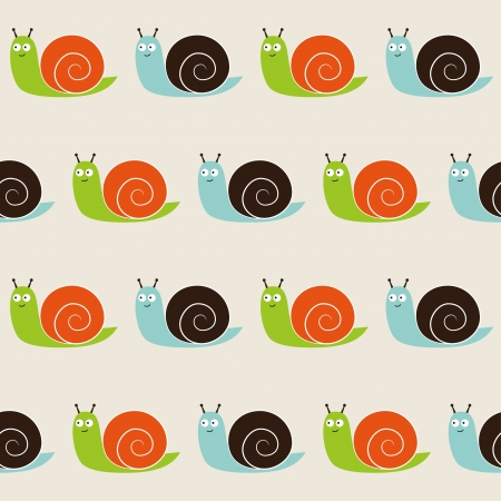Seamless snails pattern Vector