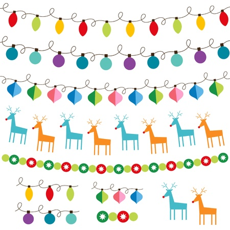 christmas lights: Decorazioni di Natale insieme Vettoriali