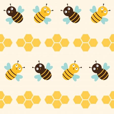 abejas panal: Abejas patrón Seamless