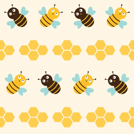 honeycombs: Seamless bees pattern