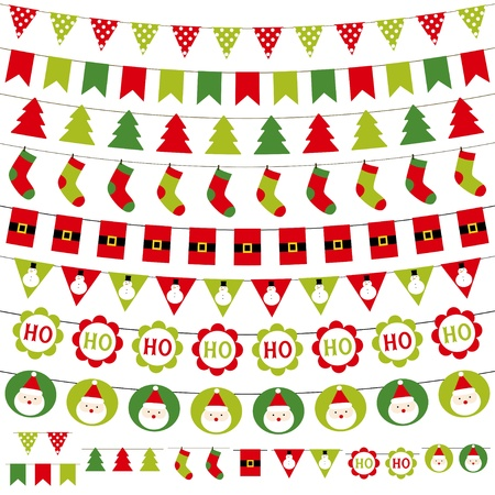 bunting flags: Christmas garlands set Illustration