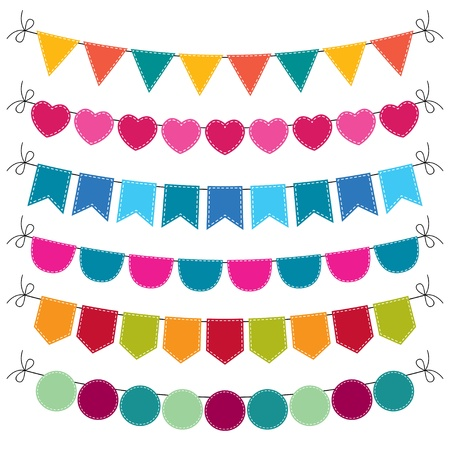 bunting flags: Cute bunting flags set Illustration