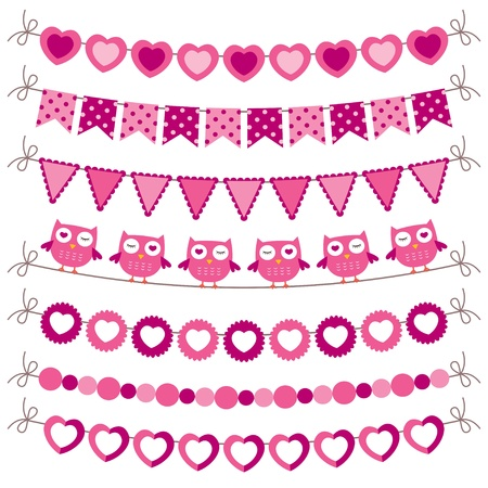 the pennant: Bunting and garland pink set