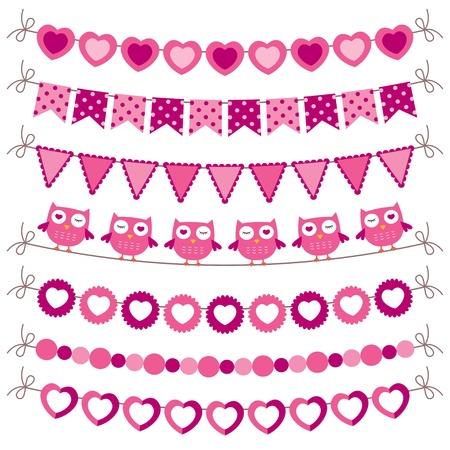 holiday garland: Bunting and garland pink set