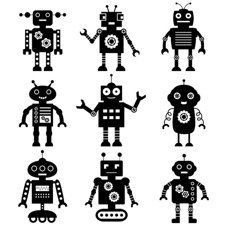 robot cartoon: Robot silhouettes set  Illustration