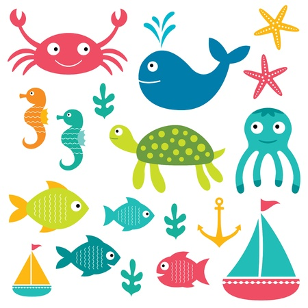 octopus: Sea elements set Illustration