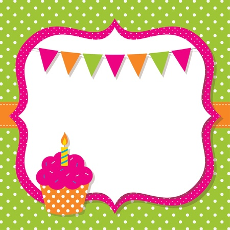 Birthday frame with a cupcake Ilustrace