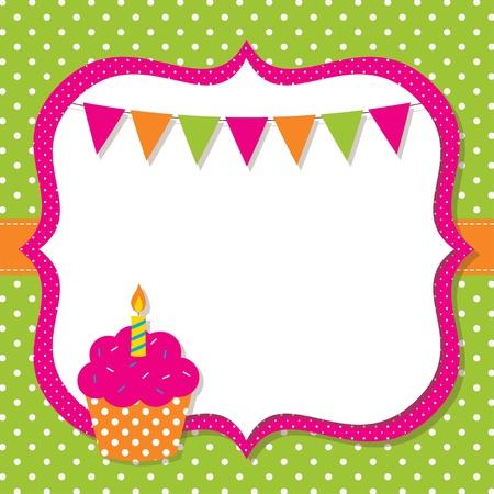 Birthday frame with a cupcake Ilustração