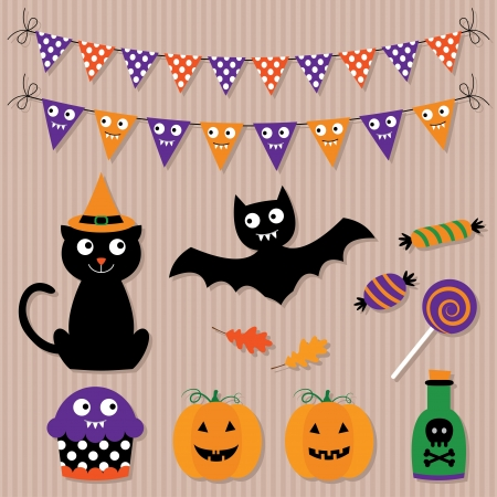 Halloween vector set Illustration
