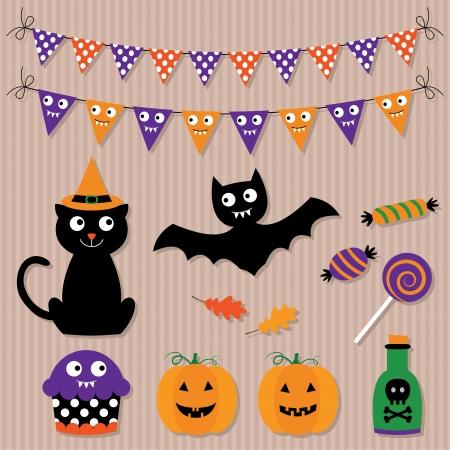 halloween bats: Halloween vector set Illustration