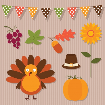 Thanksgiving vector set Vector