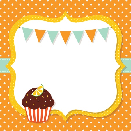 Birthday card with a cupcake Illustration