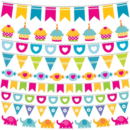 Bunting and garland birthday set Vector
