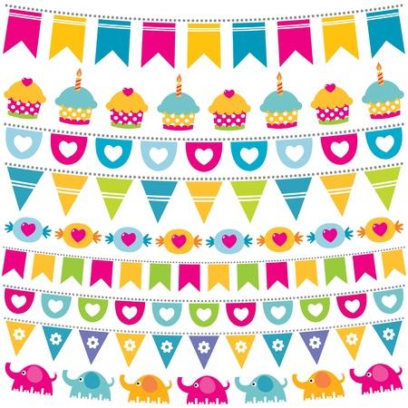 Bunting and garland birthday set Stock Vector - 16615912