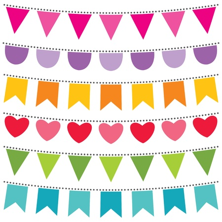 Colorful bunting set Vector