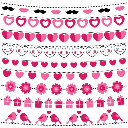 Valentine bunting flags set