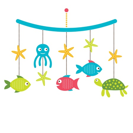 hanging girl: Baby arrival or shower card, crib mobile with sea animals