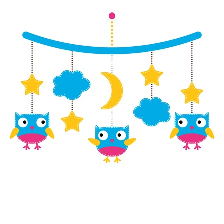 hanging girl: Baby arrival or shower card, baby mobile with cute owls