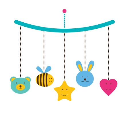 hanging girl: Baby arrival or shower card, baby mobile
