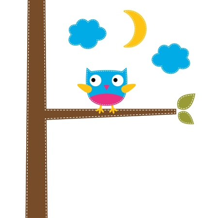 Cute owl on a tree Illustration