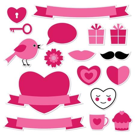 bigote: Pegatinas de San Valentín fijado Vectores