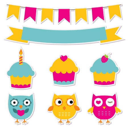 Birthday party stickers set Stock Vector - 17105844