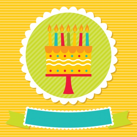 Birthday card with a cake and candles Illustration