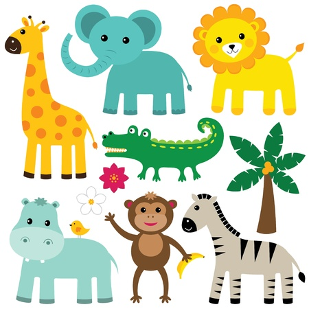 safari animal: Cute animals set