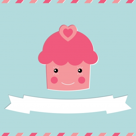 Cute cupcake Valentine s Day card Illustration