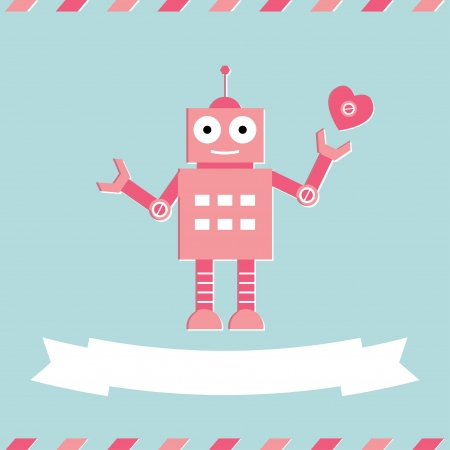 Cute robot Valentine s Day card Illustration