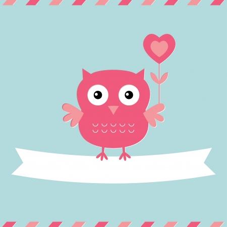 sevimli: Sevimli baykuş Sevgililer Günü kartı
