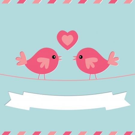 cute love: Love birds Valentine s Day card
