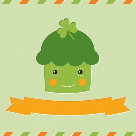St  Patrick s Day cupcake card Stock Vector - 17957617