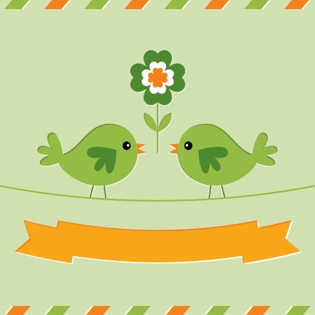 St  Patrick s Day with cute birds Stock Vector - 17957728