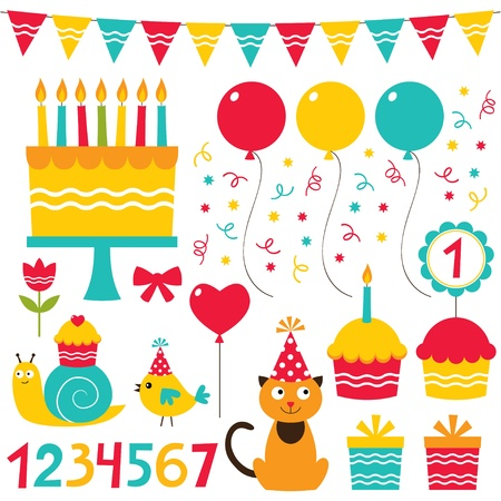 Birthday party design elements set