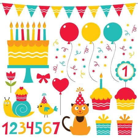 Birthday party design elements set