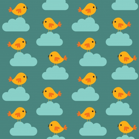 Seamless birds and clouds pattern