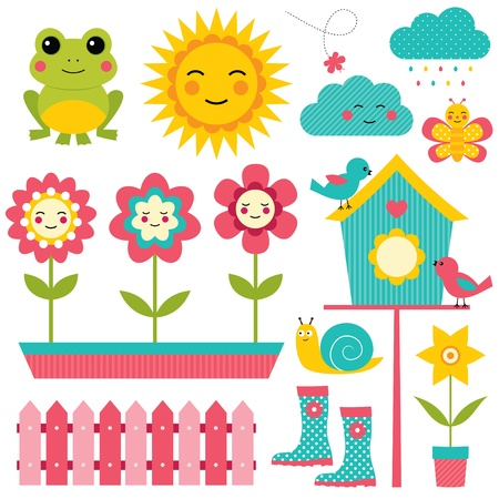 birdhouse: Spring design elements set