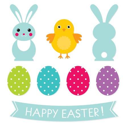 easter bunny: Ostern Symbole gesetzt Illustration