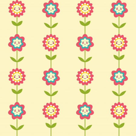 Seamless pattern with cute smiling flowers Illustration