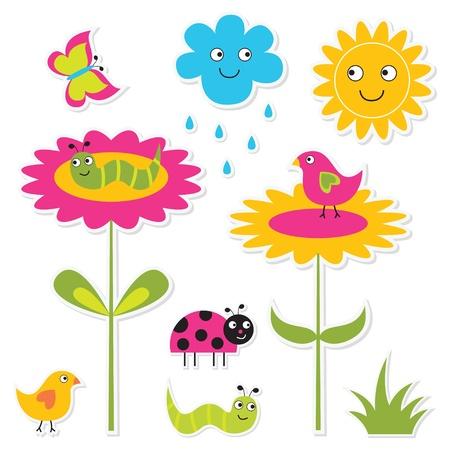 children caterpillar: Summer design elements set Illustration
