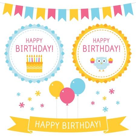 Birthday design elements set