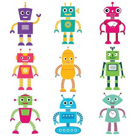 robot: Robots de dibujos animados conjunto Vectores