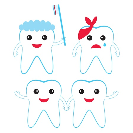 dientes caricatura: Dientes de la historieta fijaron Vectores