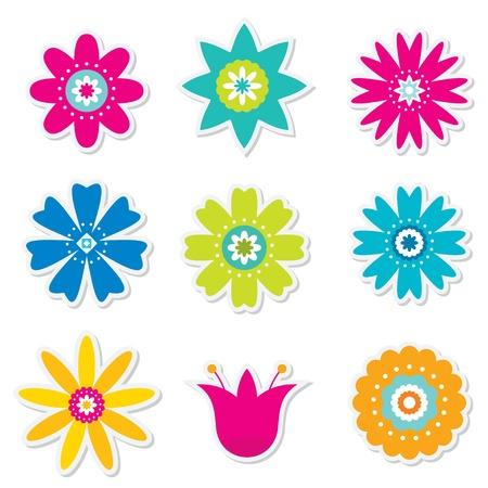 Kleurrijke bloemen set