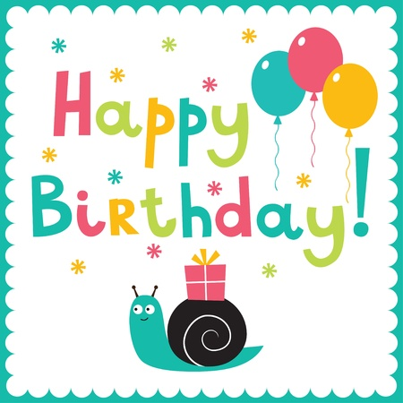 Birthday card with a snail